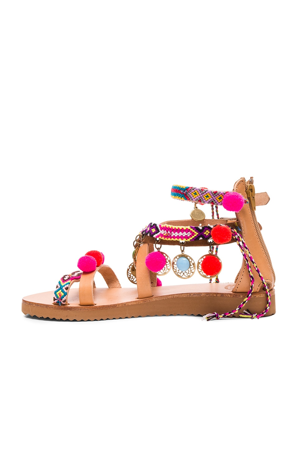 Image 5 of Elina Linardaki Leather Gipsy Spell Sandals in Multi