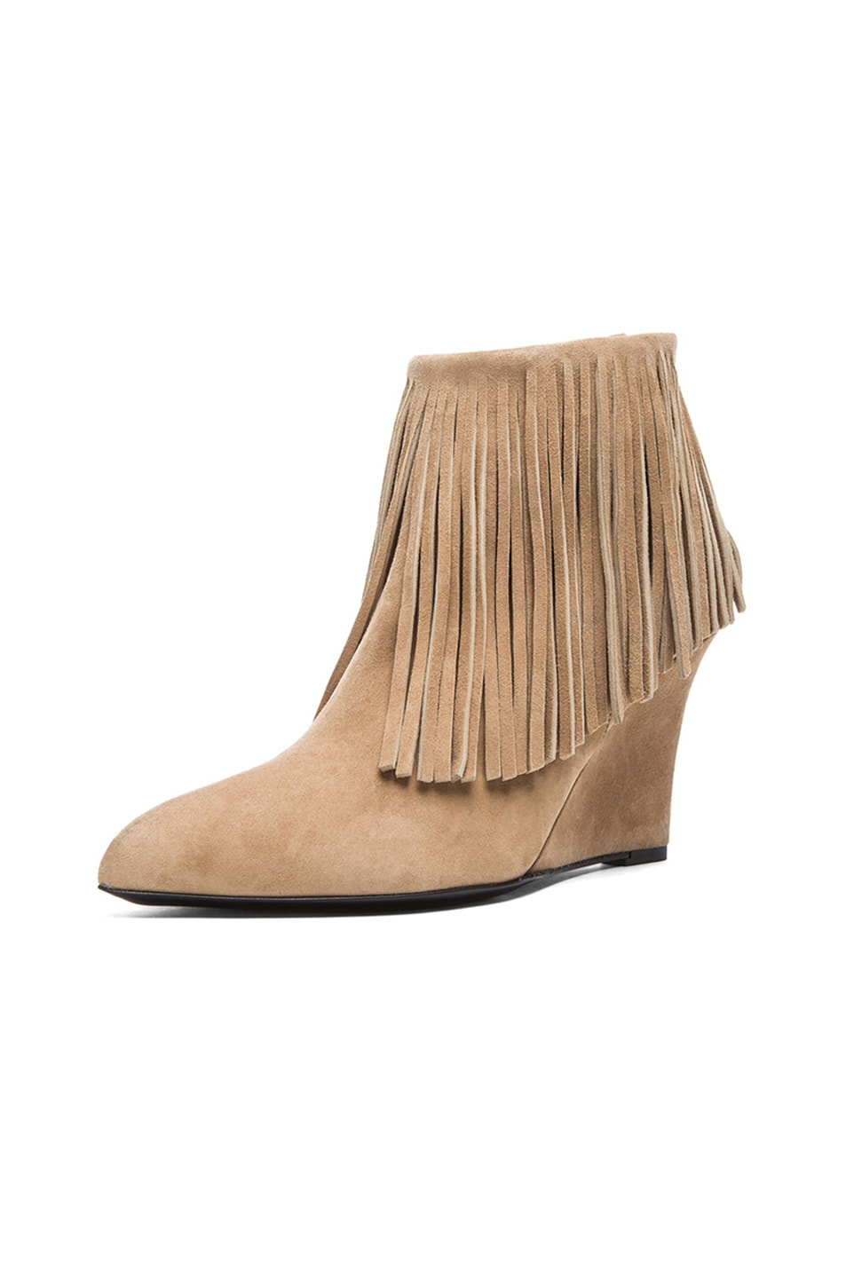 Image 2 of elysewalker los angeles Suede Fringe Booties in Taupe