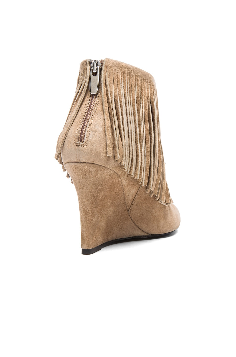 Image 3 of elysewalker los angeles Suede Fringe Booties in Taupe