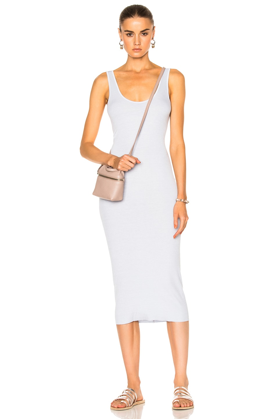 Image 1 of Enza Costa Midi Rib Tank Dress in Pale Blue