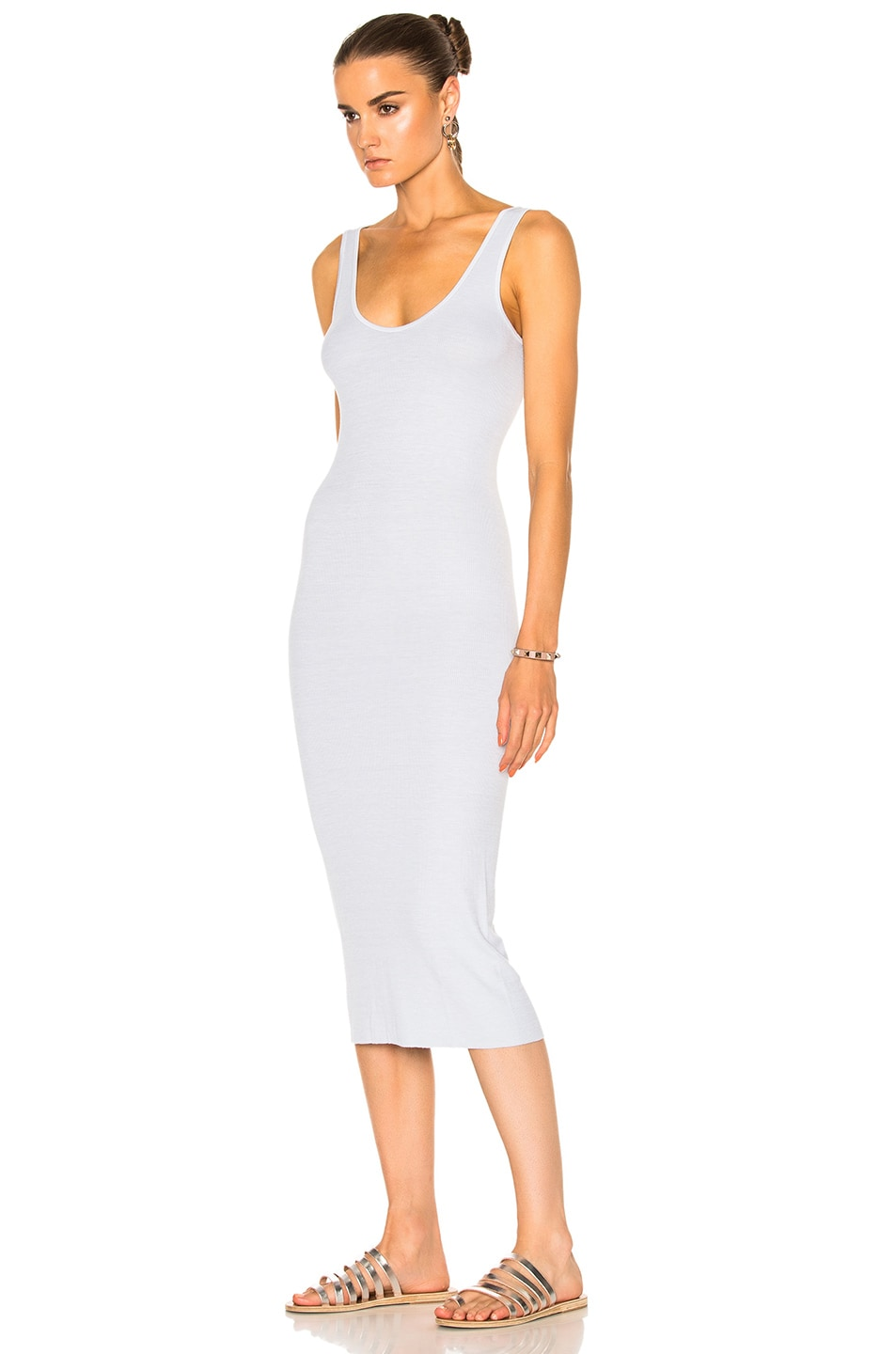 Image 2 of Enza Costa Midi Rib Tank Dress in Pale Blue