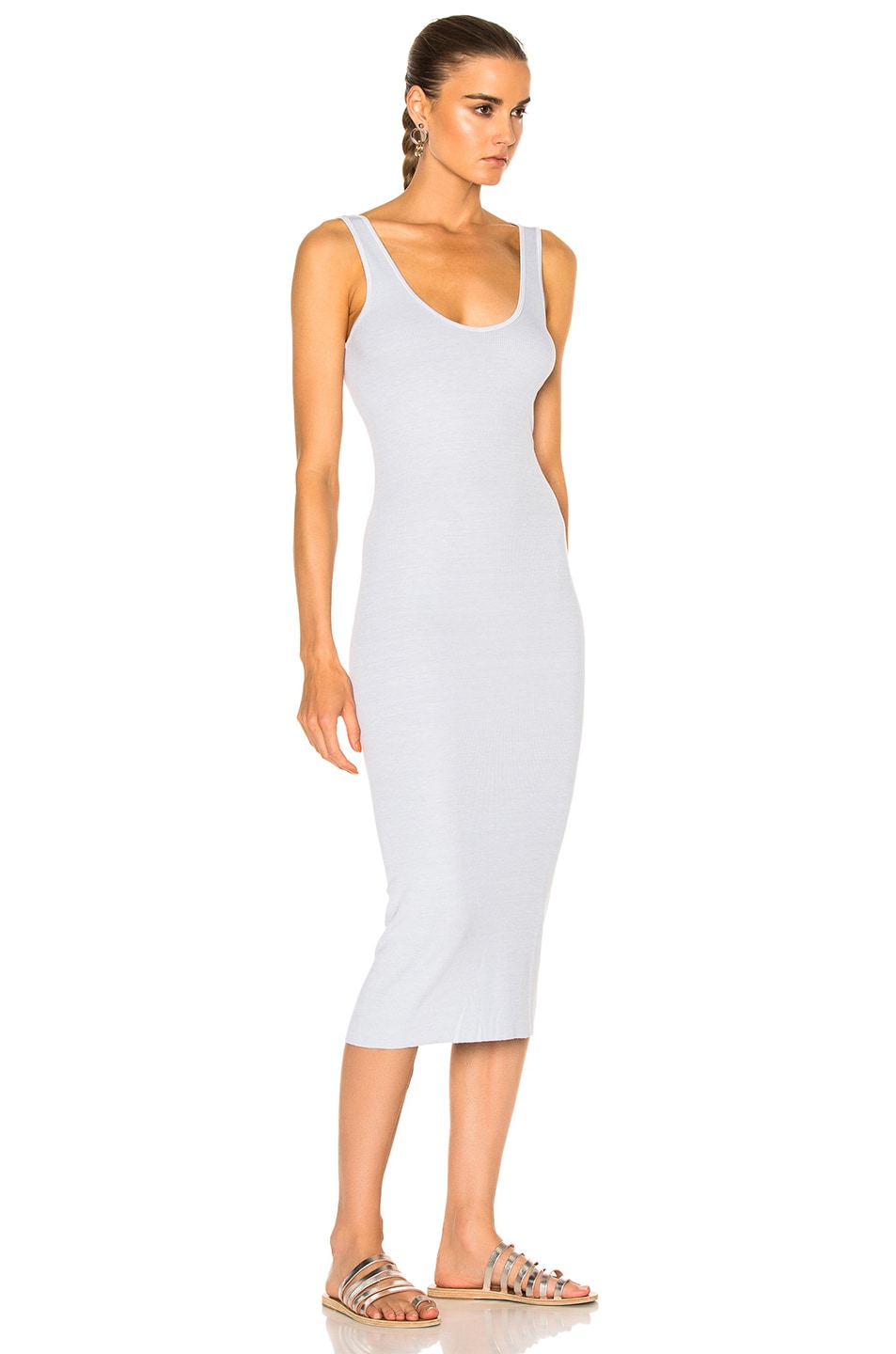 Image 3 of Enza Costa Midi Rib Tank Dress in Pale Blue