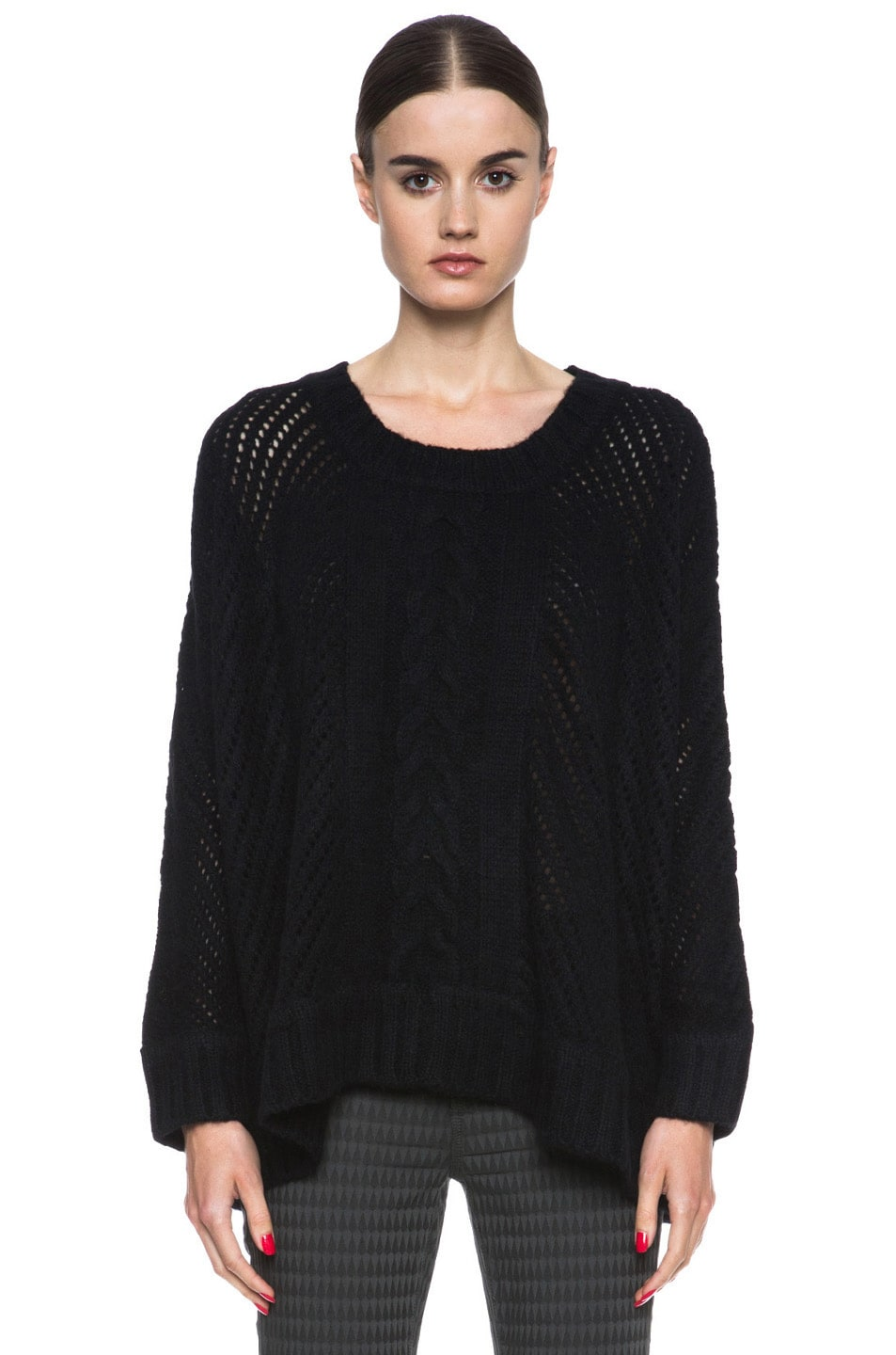 Image 1 of Enza Costa Oversize Basketweave Wool-Blend Sweater in Black