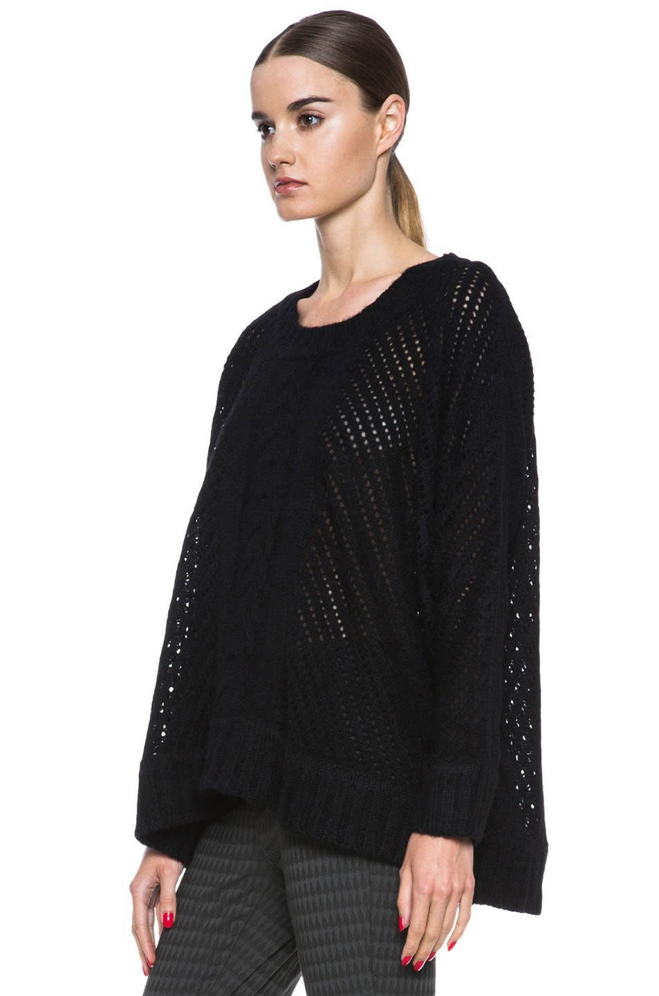 Image 2 of Enza Costa Oversize Basketweave Wool-Blend Sweater in Black