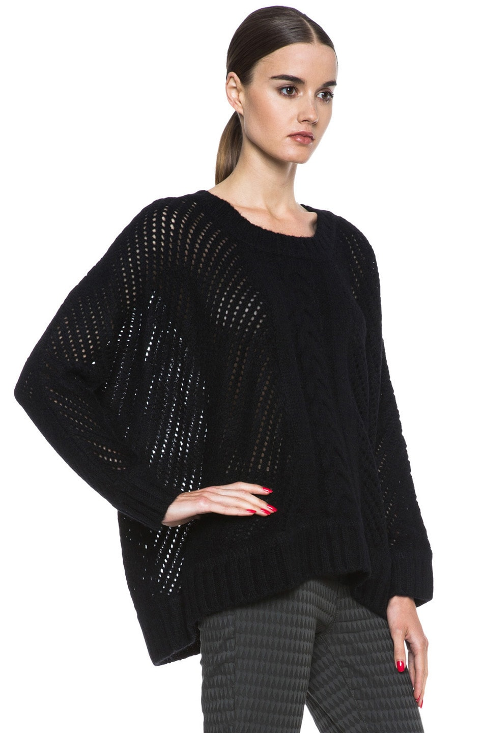 Image 3 of Enza Costa Oversize Basketweave Wool-Blend Sweater in Black