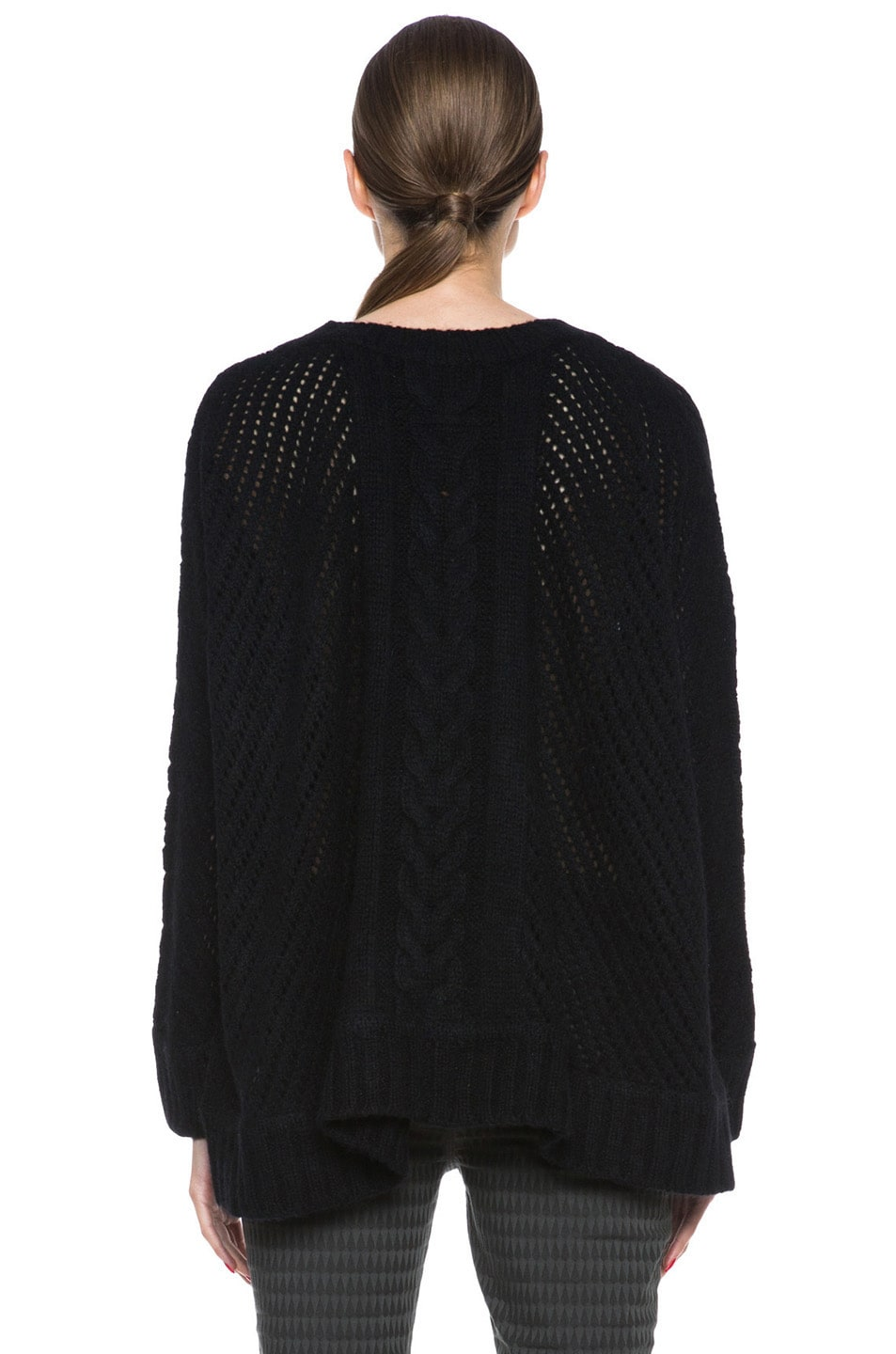 Image 4 of Enza Costa Oversize Basketweave Wool-Blend Sweater in Black