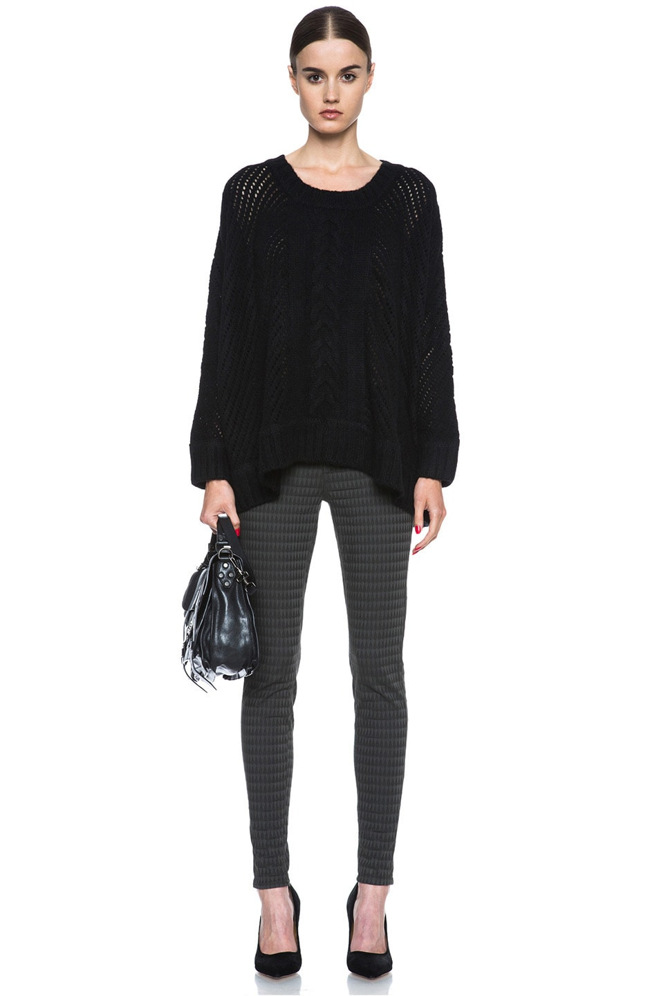 Image 5 of Enza Costa Oversize Basketweave Wool-Blend Sweater in Black