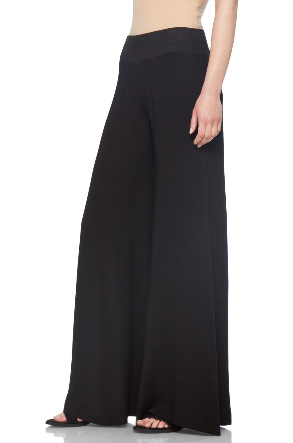 Image 2 of Enza Costa Challis Wide Leg Pant in Black
