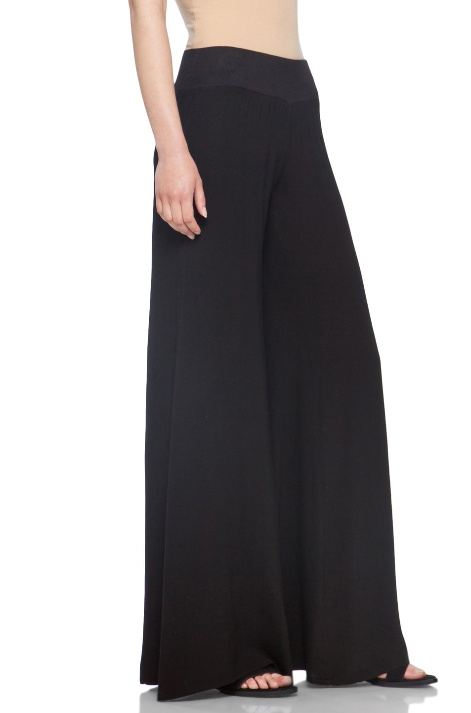 Image 3 of Enza Costa Challis Wide Leg Pant in Black