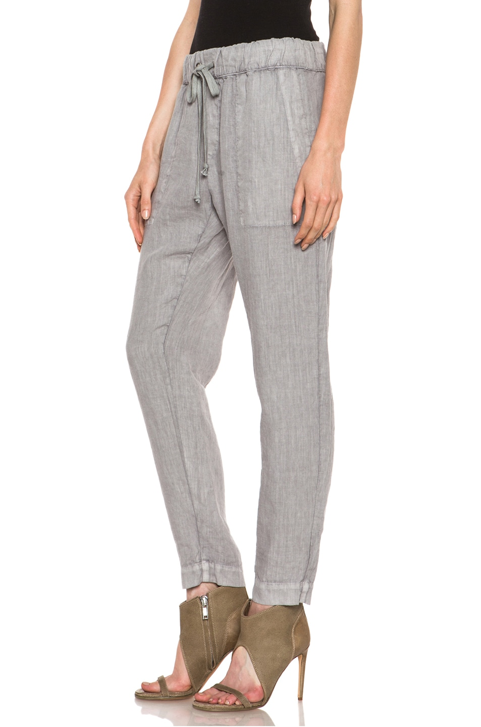 Image 2 of Enza Costa Linen Pant in Ashen