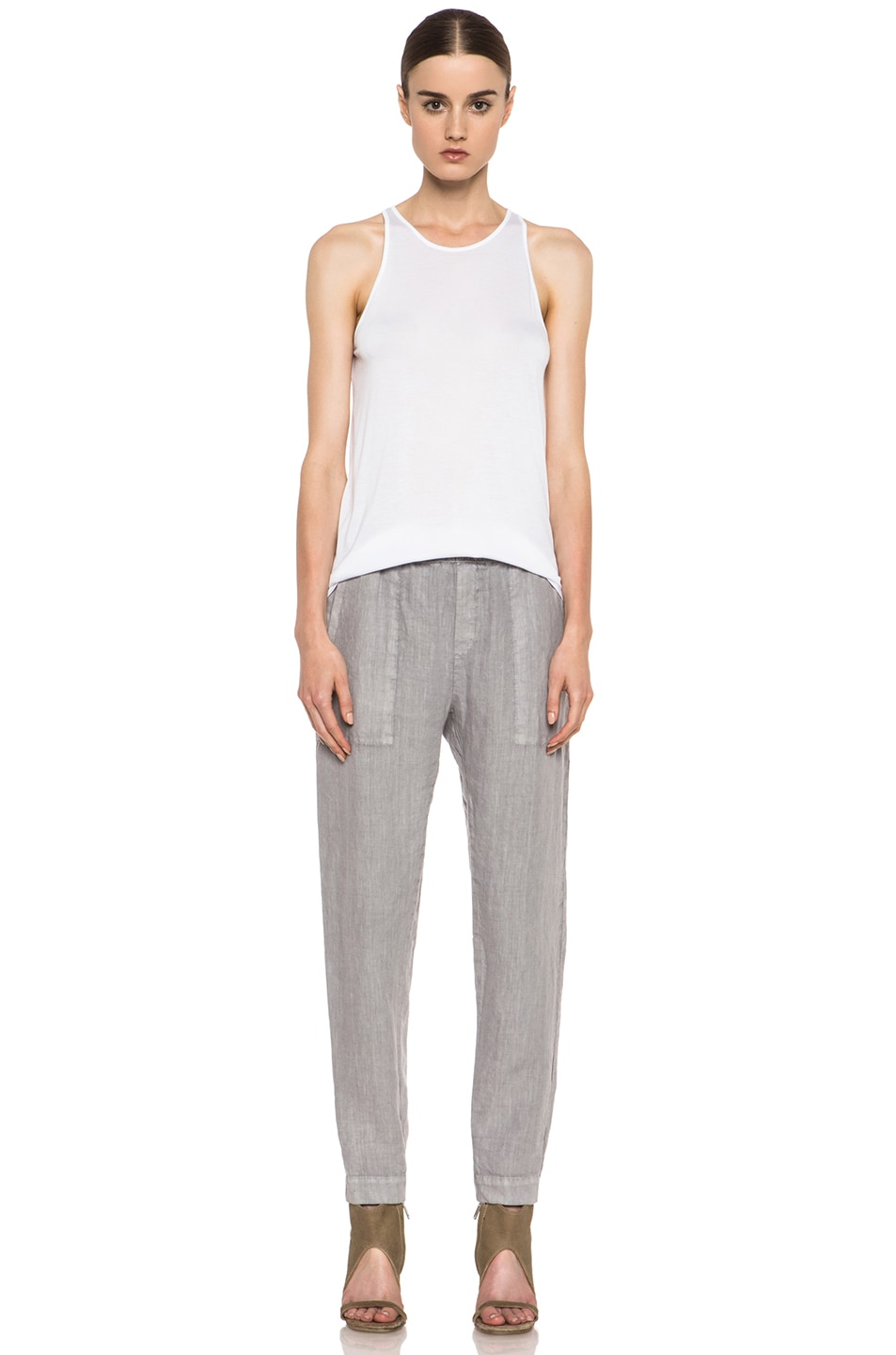 Image 5 of Enza Costa Linen Pant in Ashen