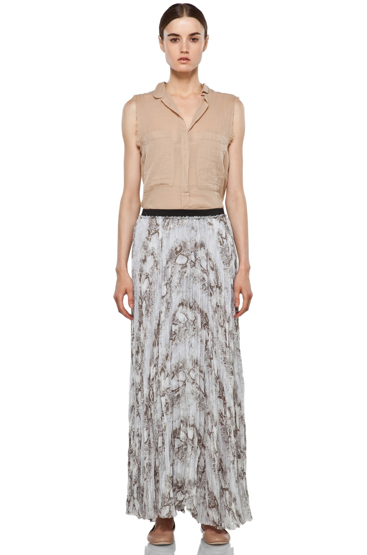 Image 5 of Enza Costa Chiffon Maxi Skirt in Pearl Boa