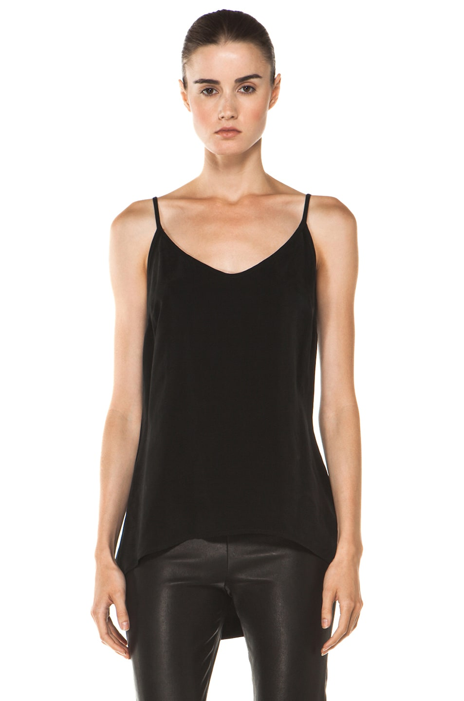 Image 1 of Enza Costa Cupro Cami in Black
