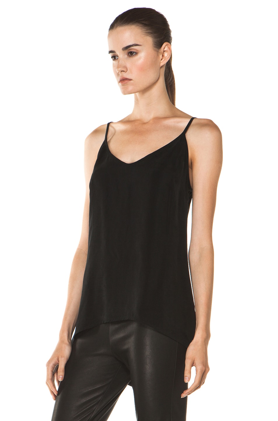 Image 2 of Enza Costa Cupro Cami in Black