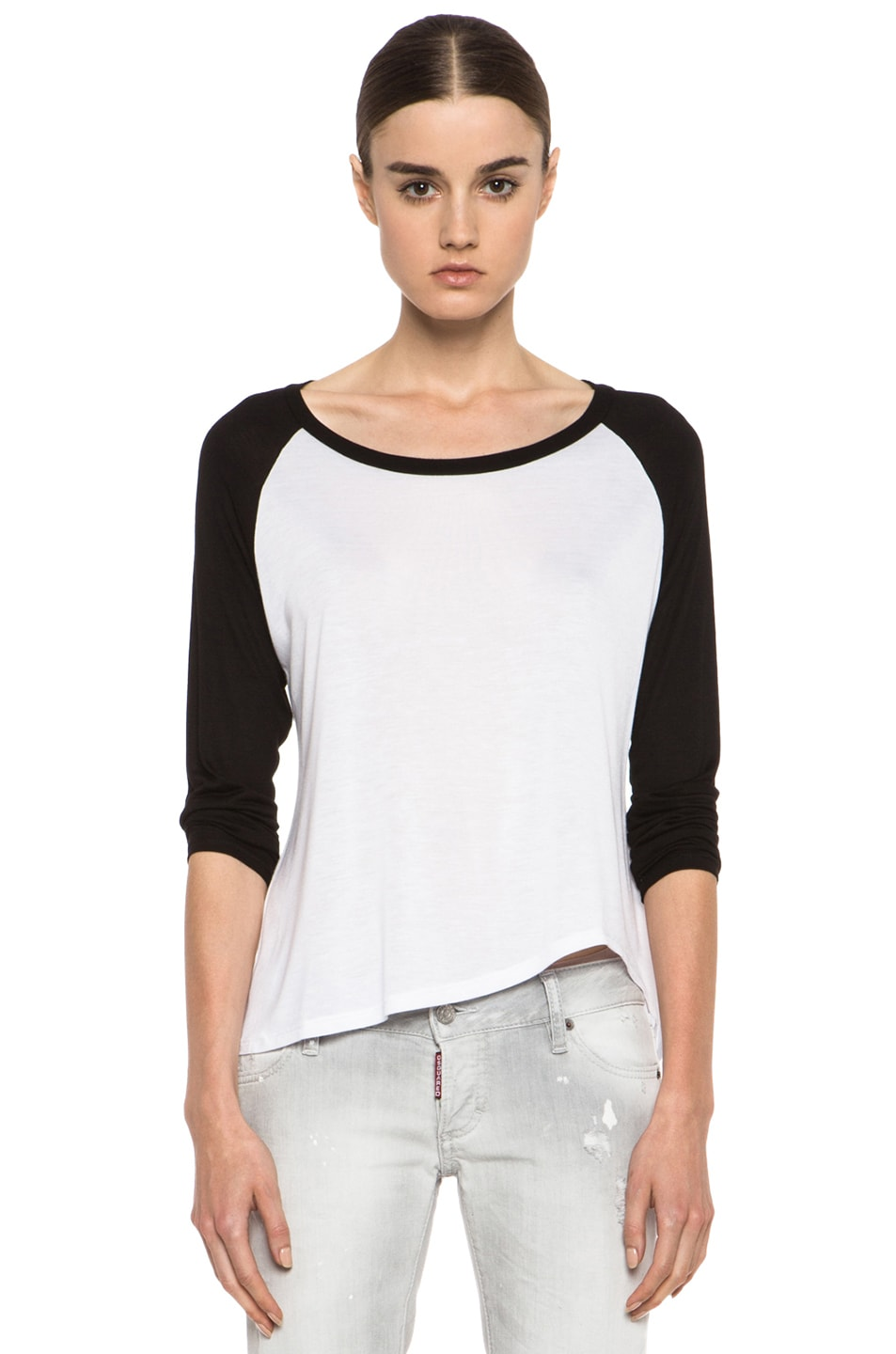 Image 1 of Enza Costa Raglan Baseball Viscose Tee in Black & White