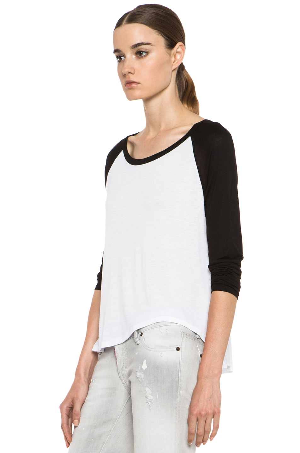Image 2 of Enza Costa Raglan Baseball Viscose Tee in Black & White