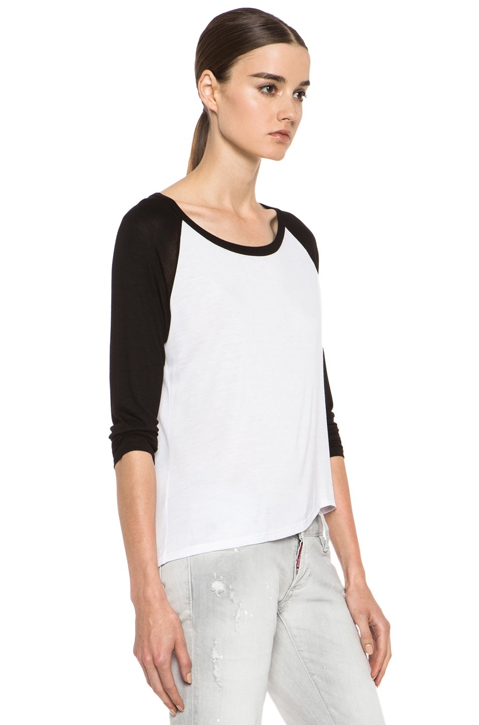 Image 3 of Enza Costa Raglan Baseball Viscose Tee in Black & White