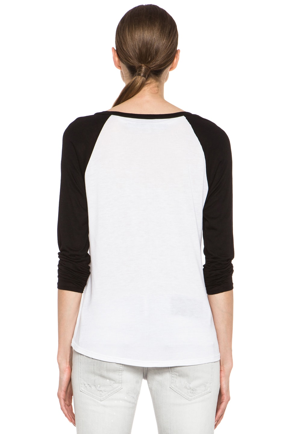 Image 4 of Enza Costa Raglan Baseball Viscose Tee in Black & White