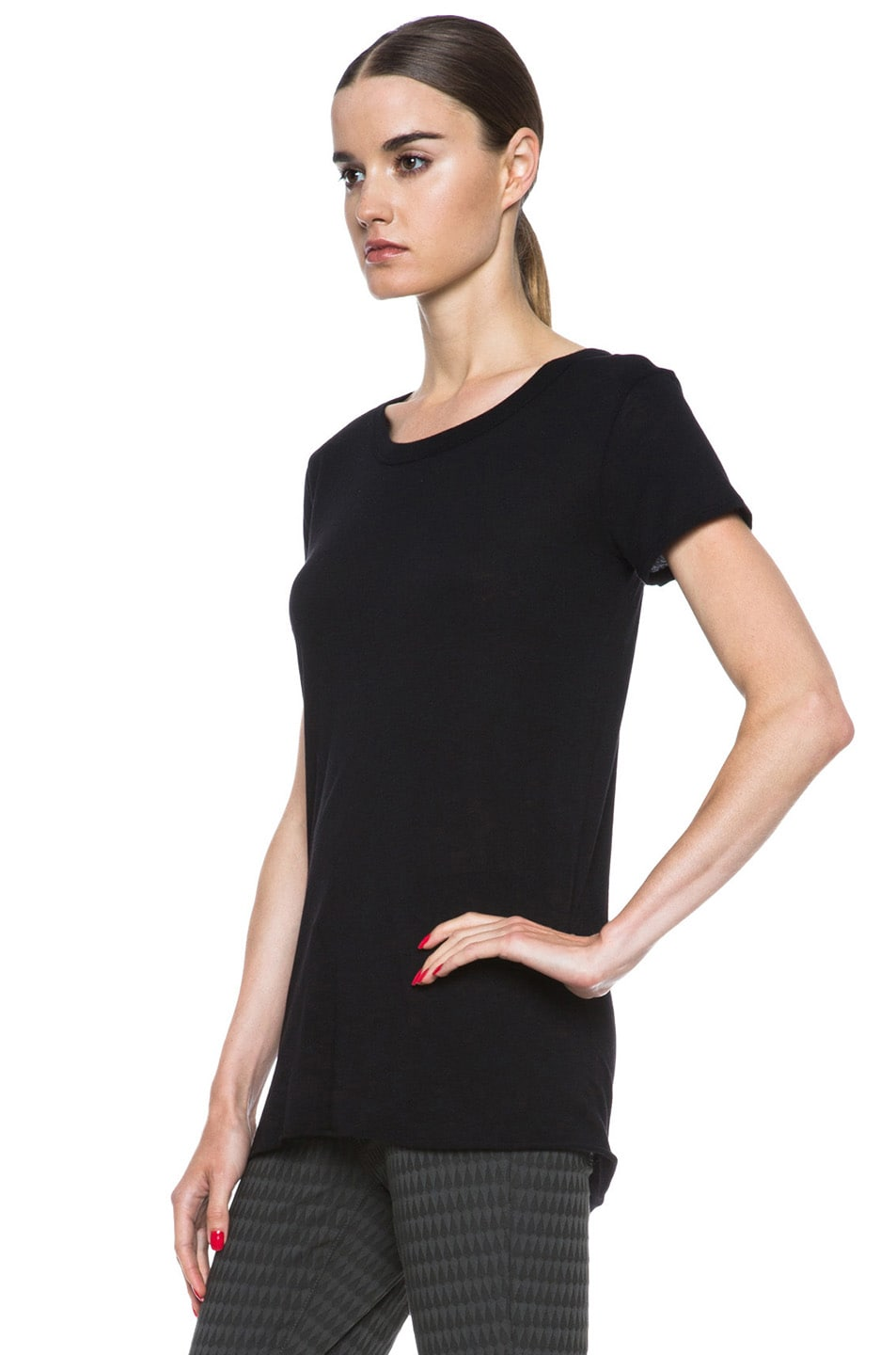 Image 2 of Enza Costa Loose Pima Cotton Tee in Black