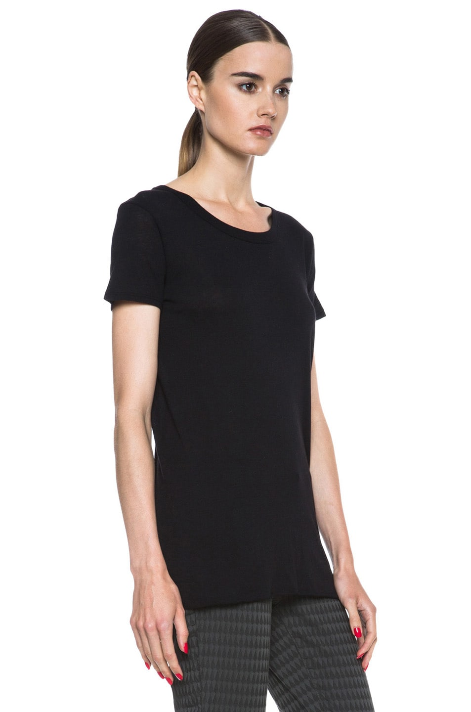 Image 3 of Enza Costa Loose Pima Cotton Tee in Black
