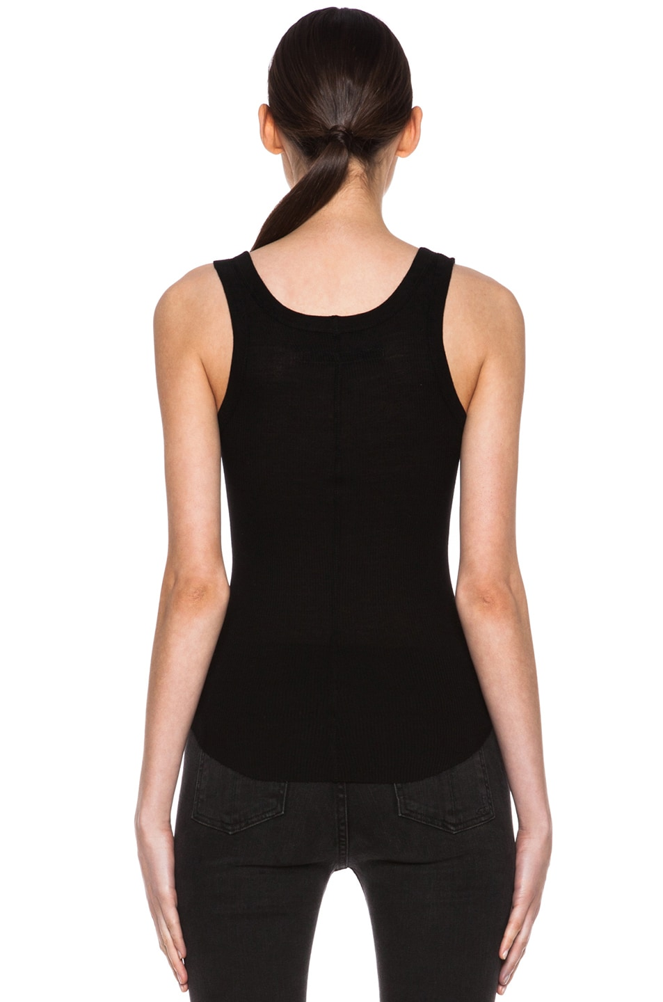 Image 4 of Enza Costa Rib Baseball Pima Cotton Tank in Black