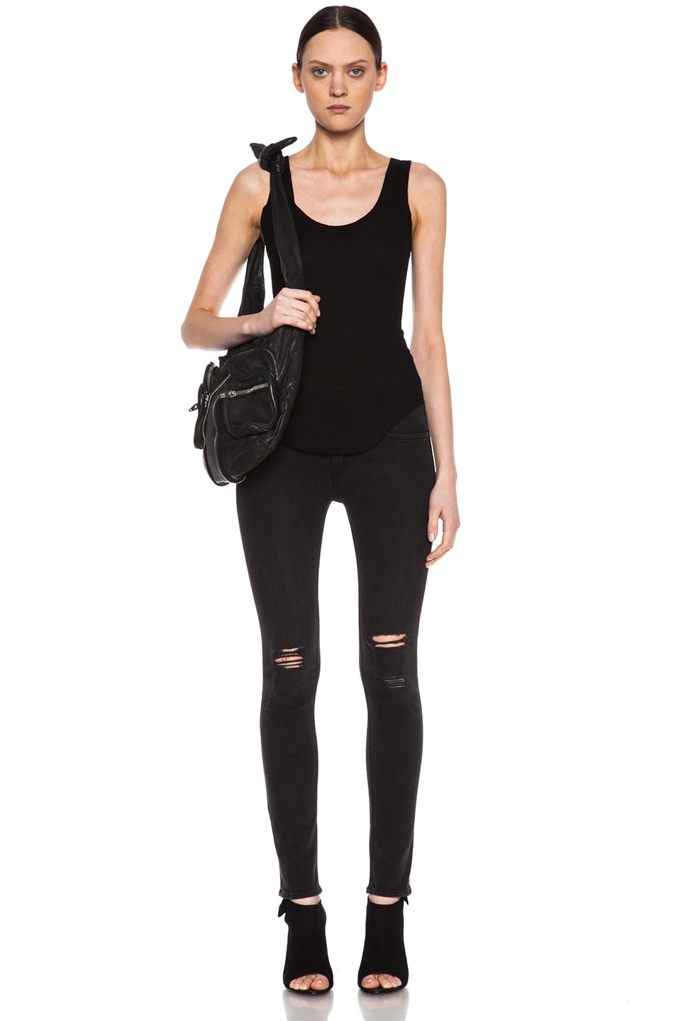 Image 5 of Enza Costa Rib Baseball Pima Cotton Tank in Black