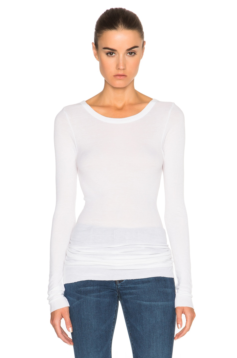 Image 1 of Enza Costa Rib Long Sleeve Crew Top in Cloud