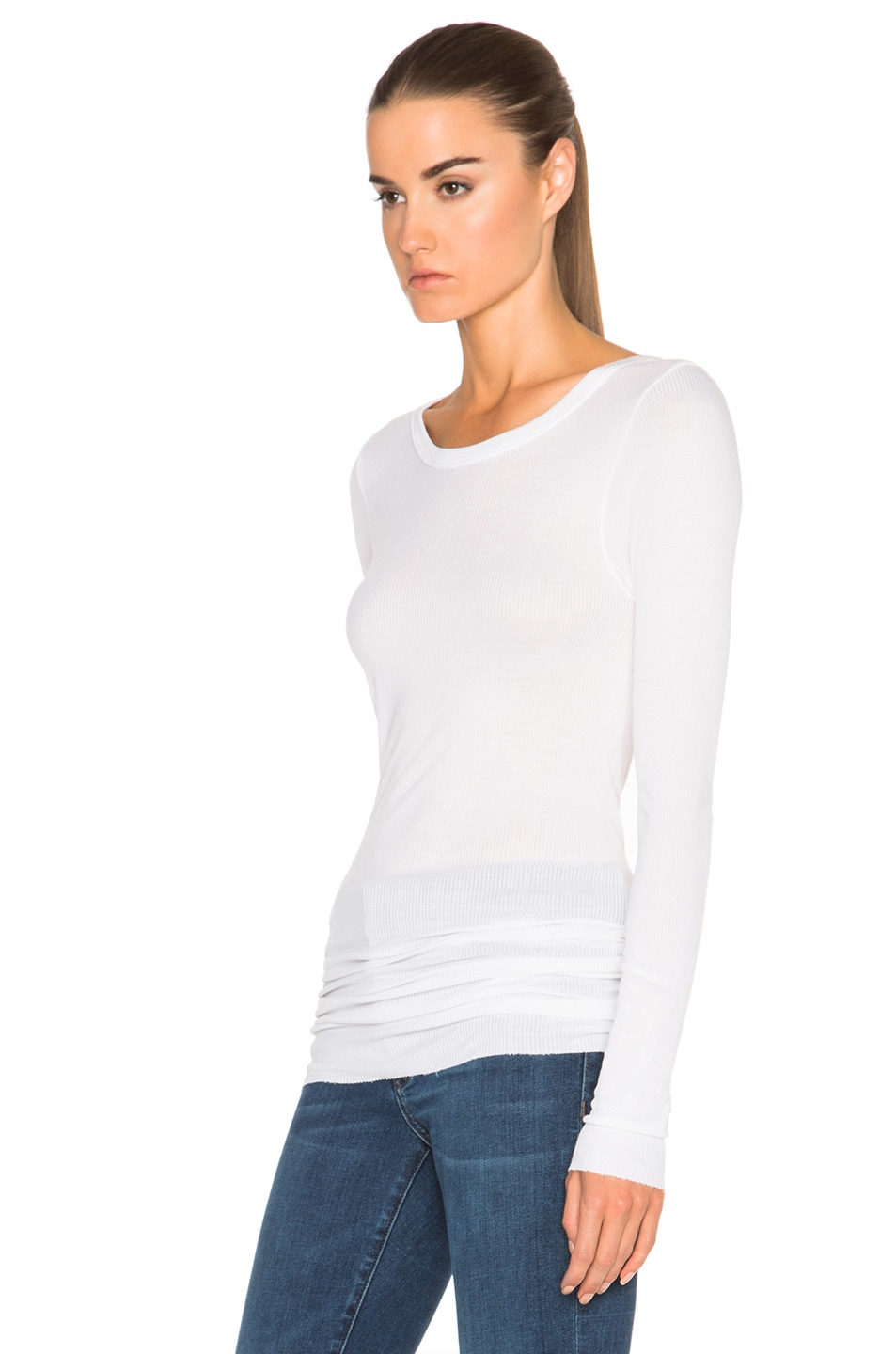 Image 2 of Enza Costa Rib Long Sleeve Crew Top in Cloud