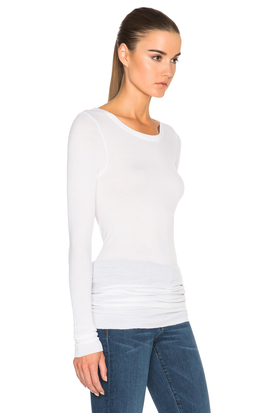 Image 3 of Enza Costa Rib Long Sleeve Crew Top in Cloud