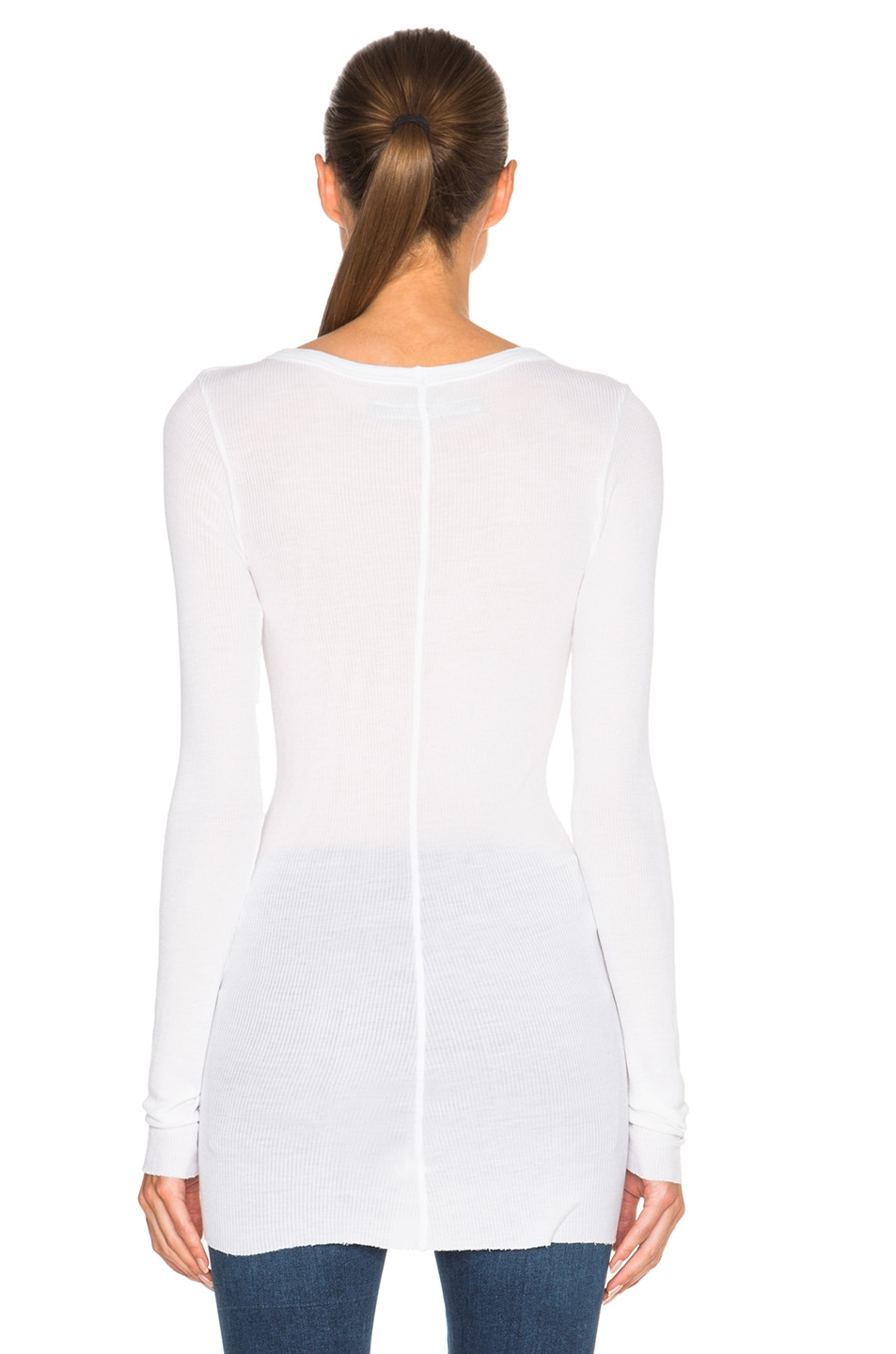 Image 4 of Enza Costa Rib Long Sleeve Crew Top in Cloud