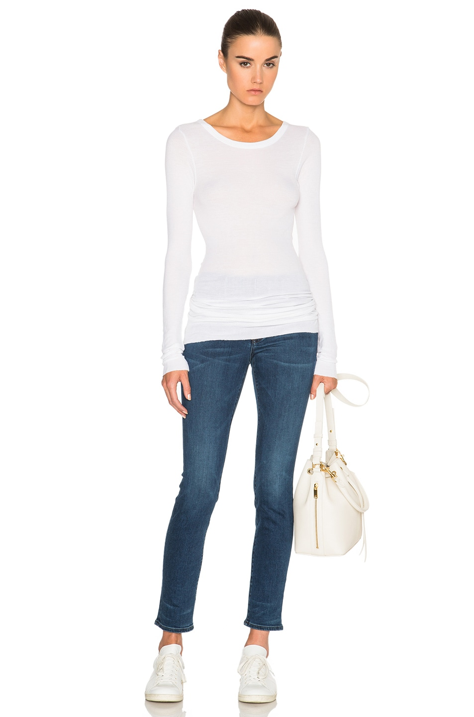 Image 5 of Enza Costa Rib Long Sleeve Crew Top in Cloud