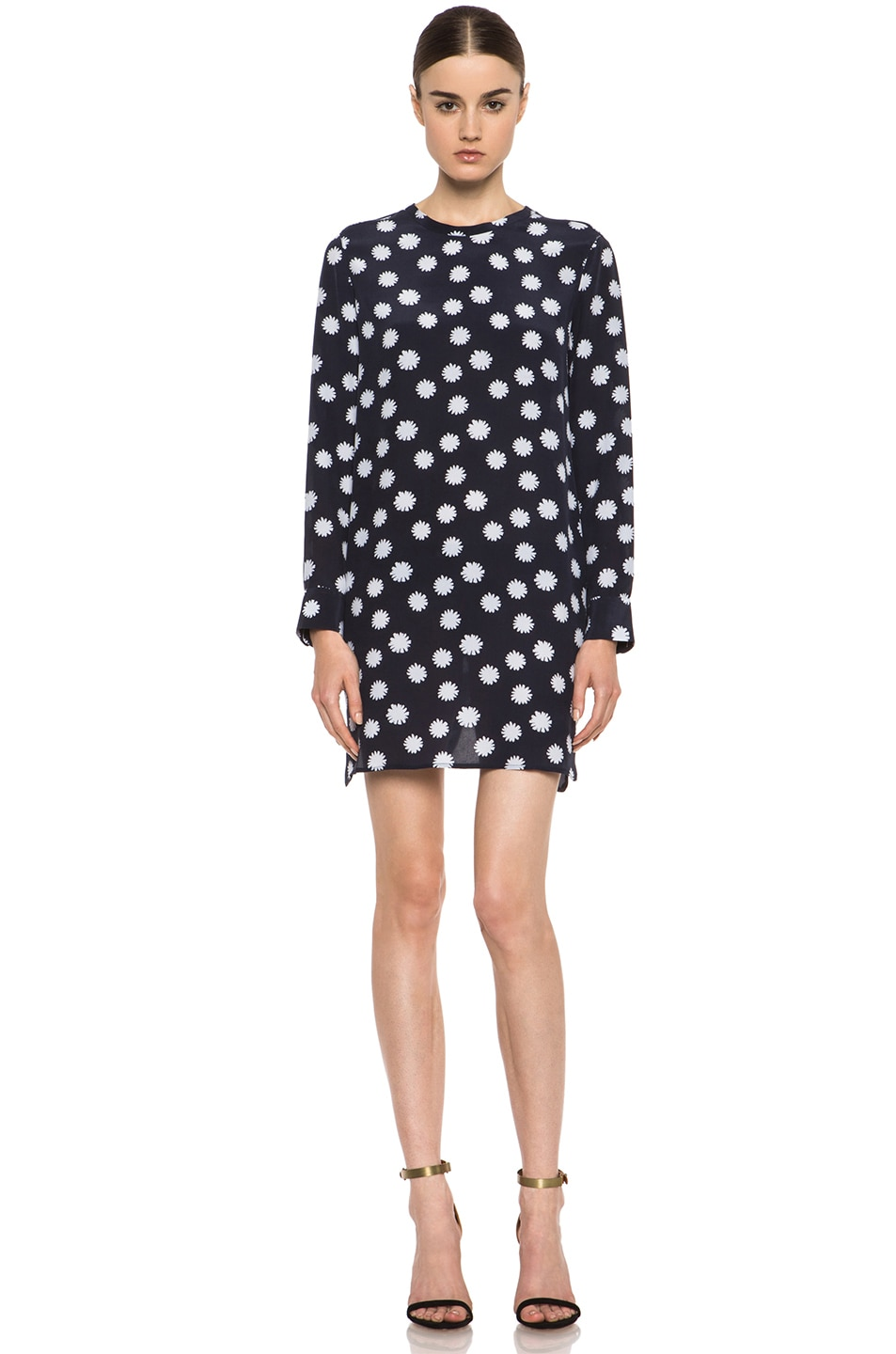 Image 1 of Equipment Owen Spotted Daisy Silk Dress in Peacoat
