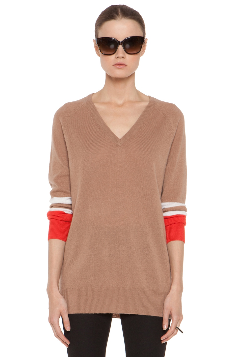 Image 1 of Equipment Asher V Neck Cashmere Colorblock Pullover in Camel