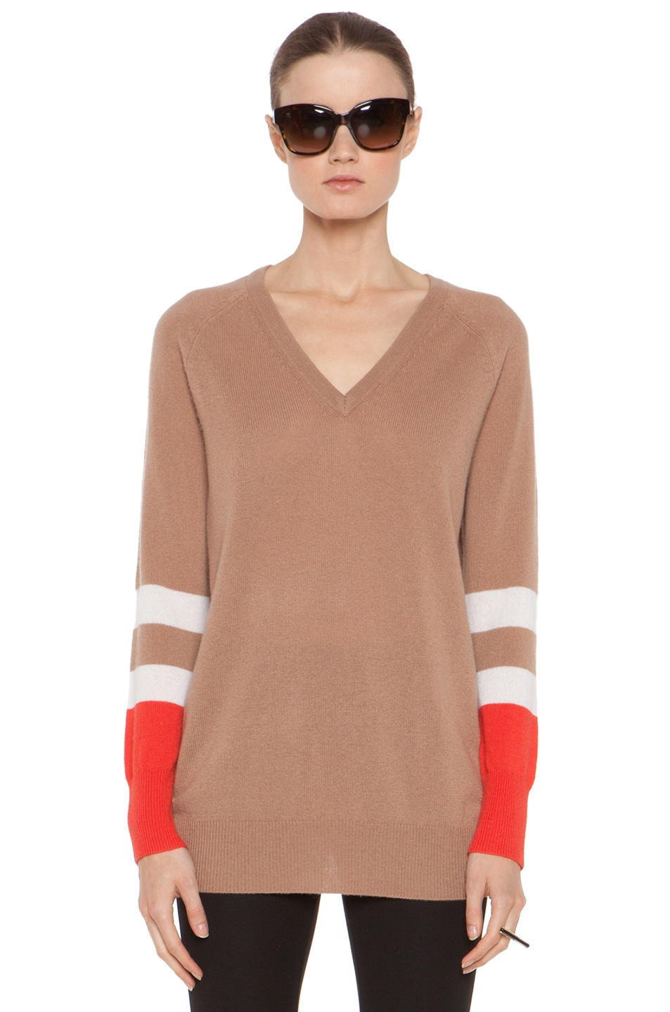 Image 2 of Equipment Asher V Neck Cashmere Colorblock Pullover in Camel