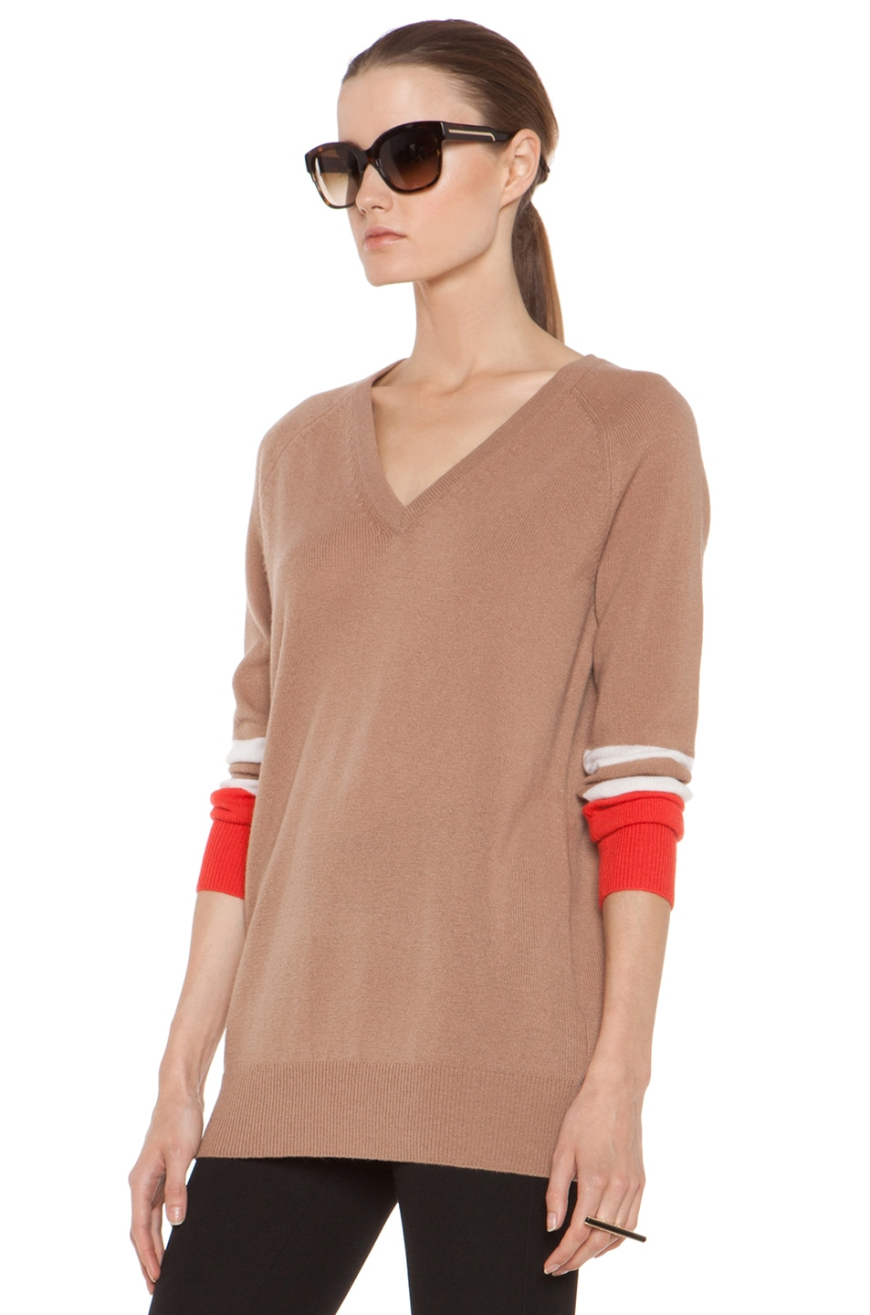 Image 3 of Equipment Asher V Neck Cashmere Colorblock Pullover in Camel