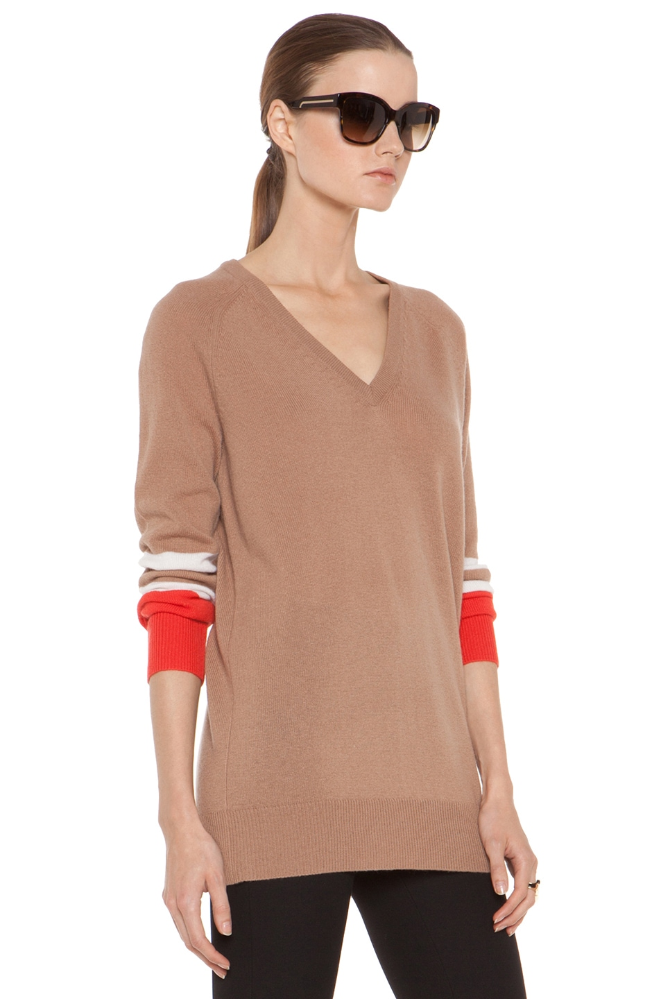 Image 4 of Equipment Asher V Neck Cashmere Colorblock Pullover in Camel