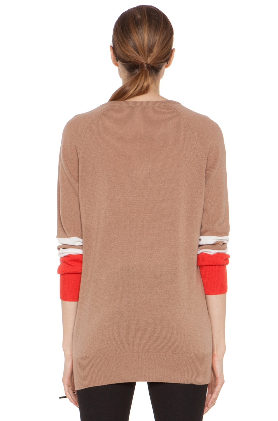 Image 5 of Equipment Asher V Neck Cashmere Colorblock Pullover in Camel