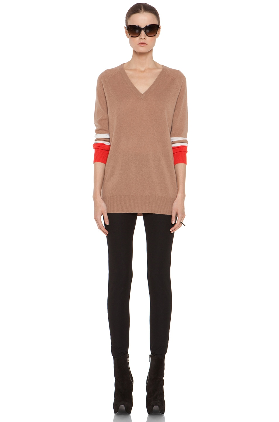 Image 6 of Equipment Asher V Neck Cashmere Colorblock Pullover in Camel