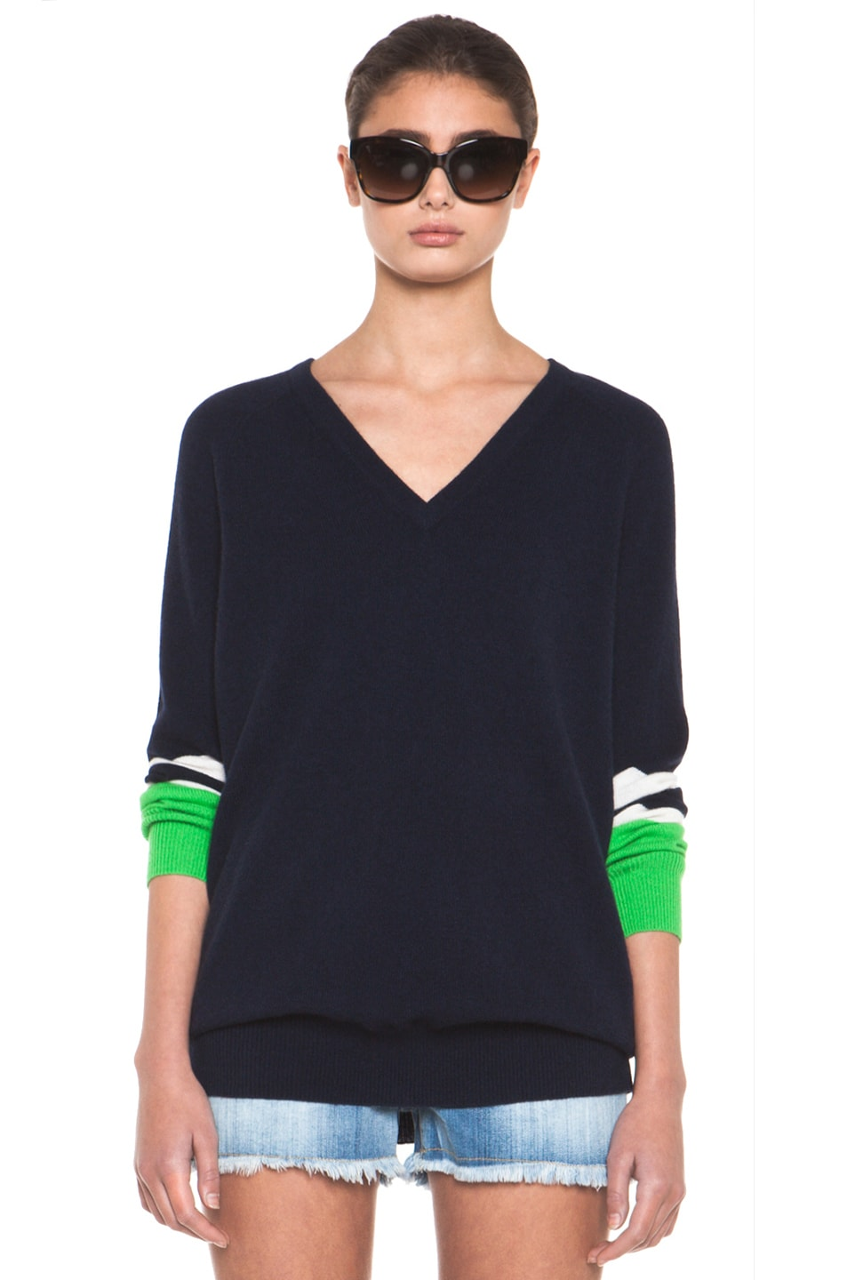 Image 1 of Equipment Asher V Neck Cashmere Colorblock Pullover in Peacoat