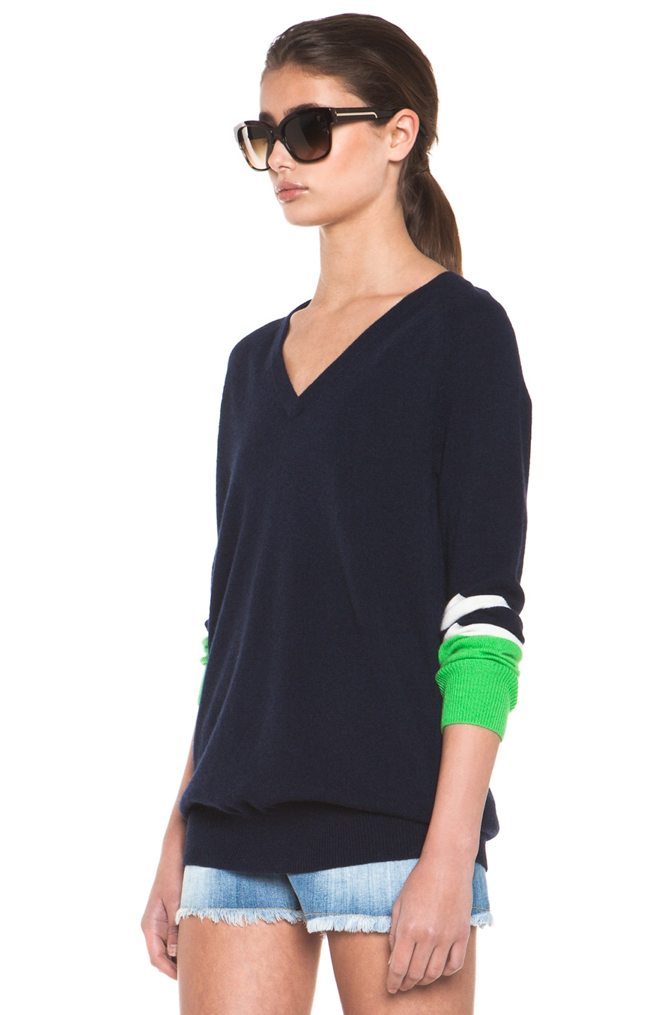 Image 3 of Equipment Asher V Neck Cashmere Colorblock Pullover in Peacoat