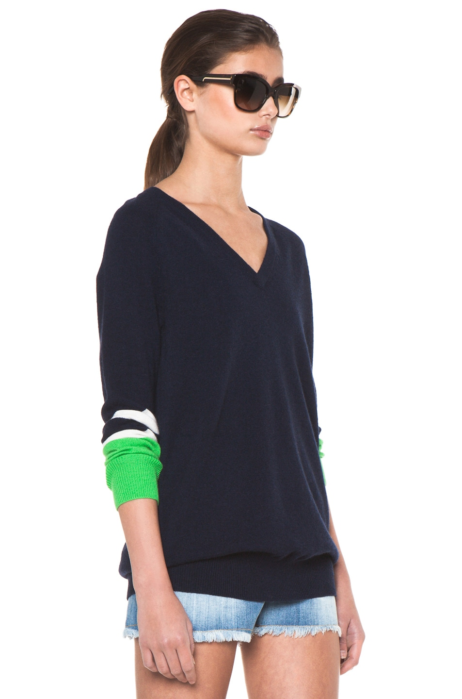 Image 4 of Equipment Asher V Neck Cashmere Colorblock Pullover in Peacoat