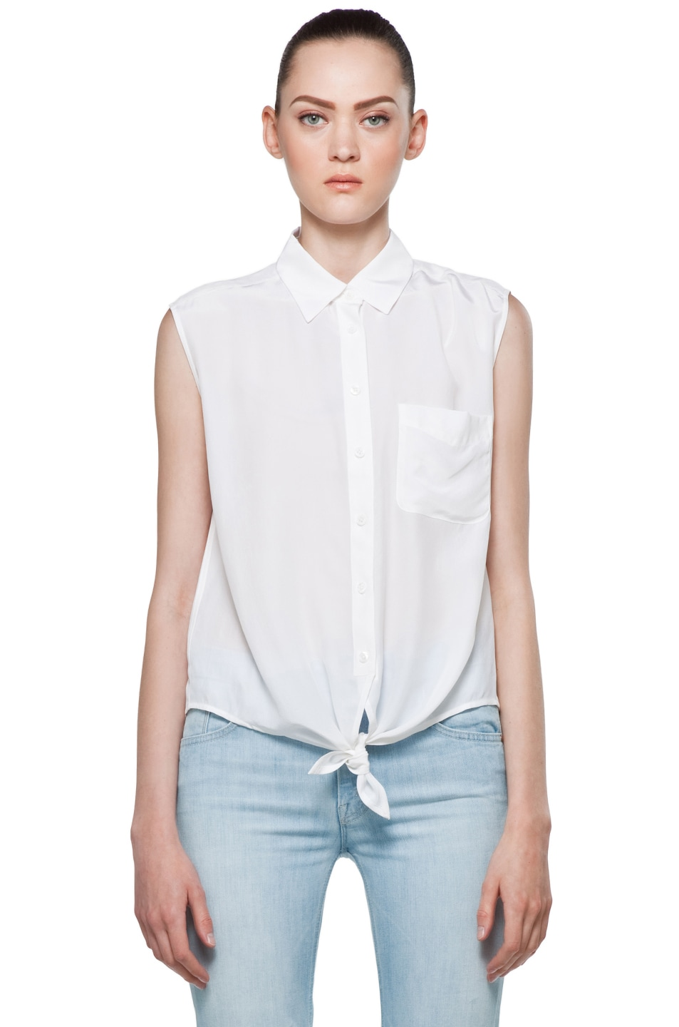 Image 2 of Equipment Diem Tie Front Blouse in Bright White