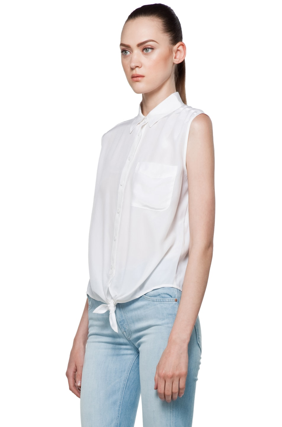 Image 3 of Equipment Diem Tie Front Blouse in Bright White