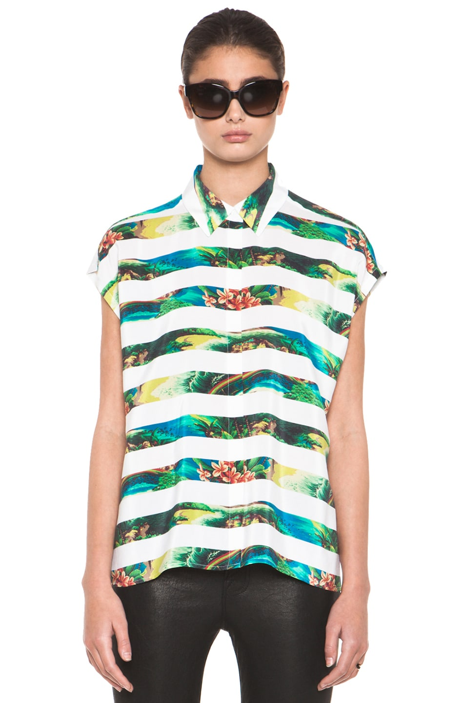Image 1 of Equipment Leandra Tropical Stripe Short Sleeve Blouse in Bright White Multi