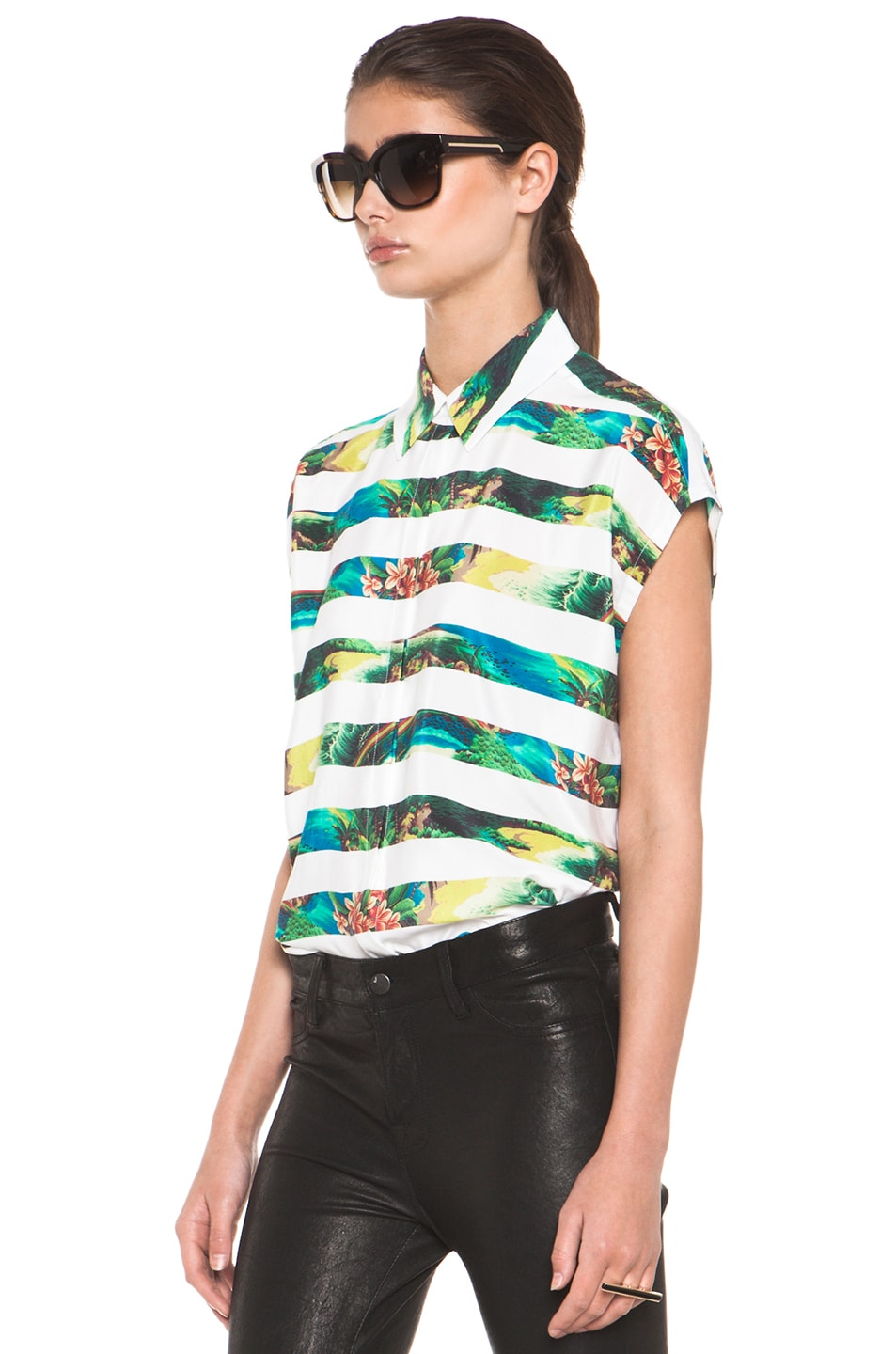 Image 2 of Equipment Leandra Tropical Stripe Short Sleeve Blouse in Bright White Multi