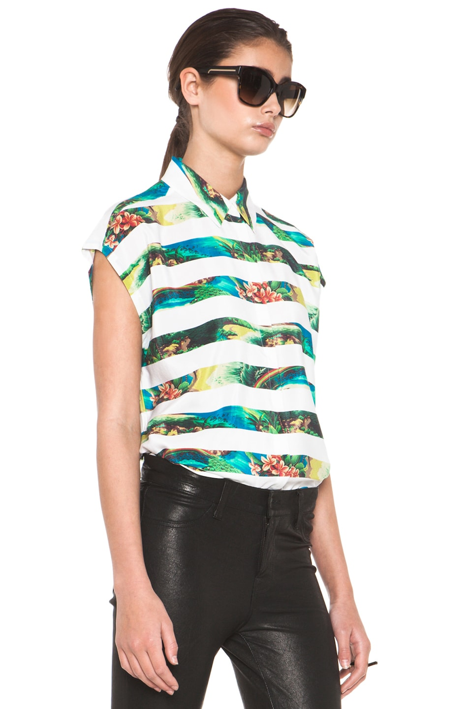 Image 3 of Equipment Leandra Tropical Stripe Short Sleeve Blouse in Bright White Multi
