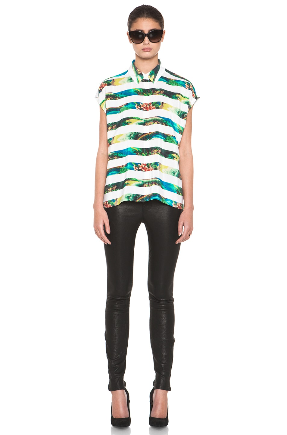 Image 5 of Equipment Leandra Tropical Stripe Short Sleeve Blouse in Bright White Multi