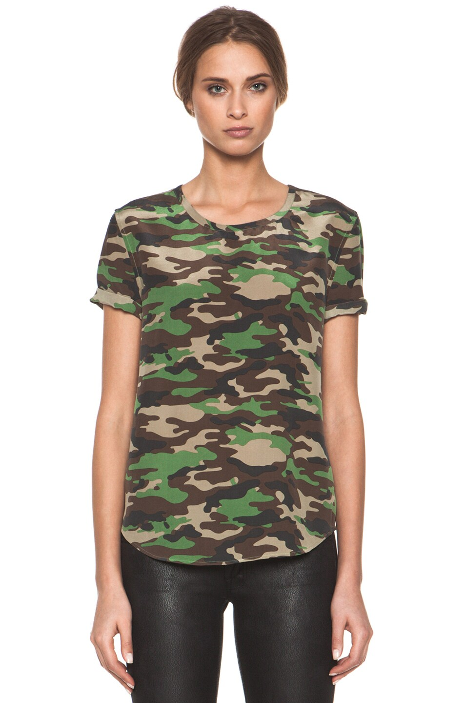 Image 1 of Equipment Riley Tee in Safari Green Multi