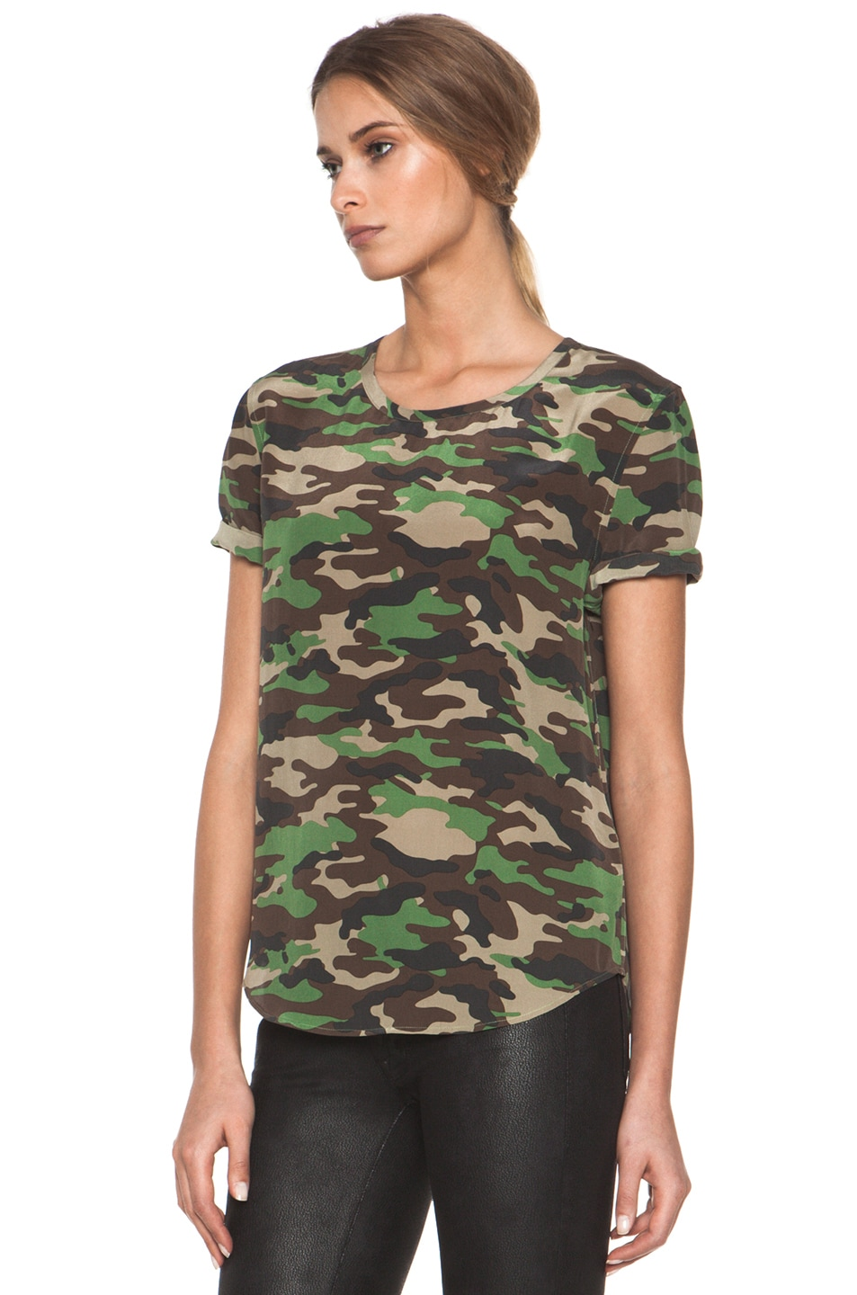 Image 2 of Equipment Riley Tee in Safari Green Multi