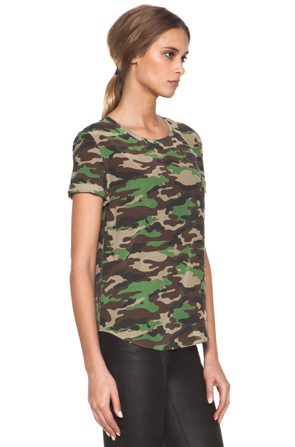 Image 3 of Equipment Riley Tee in Safari Green Multi